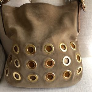 Coach suede leather hobo bag